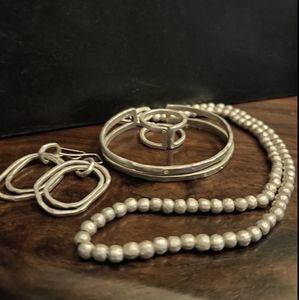 Saundra Messinger Matte Silver Jewelry Set